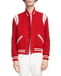 Saint Laurent Teddy Stretch Wool Varsity Jacket