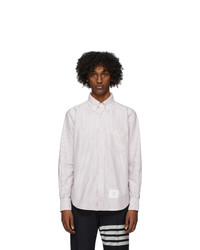 Thom Browne Red And White Oxford University Stripe Straight Fit Shirt