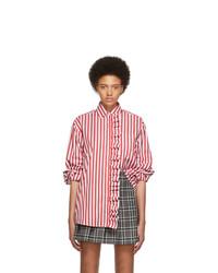 MSGM Red And White Stripe Shirt Dress