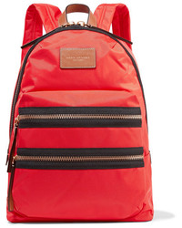 Marc Jacobs Biker Leather Trimmed Shell Backpack Red