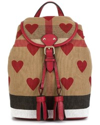 Burberry Kids Heart Print Check Mini Backpack