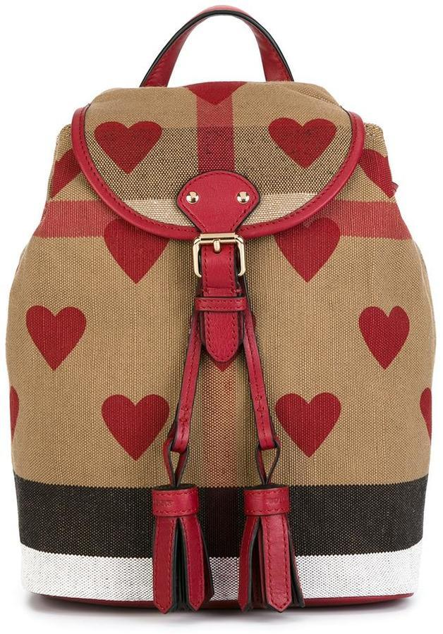 Burberry Kids Heart Print Check Mini Backpack | Where to buy & how ...