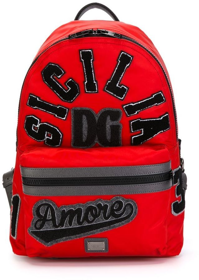 05866eff178e ... Red Backpacks Dolce   Gabbana Sicilia Amore Patch Backpack