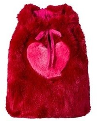 Wild Gorgeous Red Faux Fur Heart Backpack