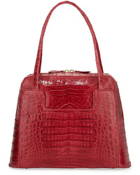 Nancy Gonzalez Crocodile Zip Around Medium Satchel Bag Red