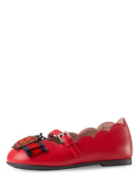 Gucci Elle Scalloped Leather Mary Jane Red Toddler