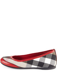 Burberry Girls Check Ballerina Flats Parade Red
