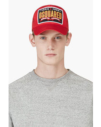DSquared 2 Red Logo Patch Baseball Cap