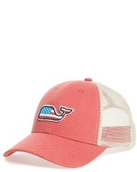 Vineyard Vines Flag Whale Patch Trucker Hat Red