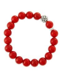 Lagos 10mm Caviar Ball Red Agate Beaded Stretch Bracelet