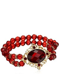 1928 Jewelry Gold Tone Siam Red Oval Faceted With Red Beaded Stretch Bracelet
