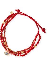 Tai 3 Strand Red Beaded Bracelet With Evil Eye Charm