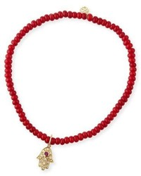 3mm beaded coral bracelet with diamond hamsa pendant medium 3746076