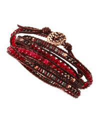 Nakamol Beaded Wrap Bracelet Bordeaux