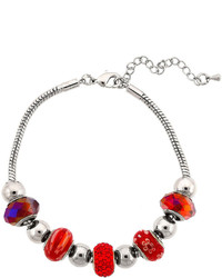 jcpenney Bridge Jewelry Dazzling Designs Silver Plated Red Glass Bead Bracelet