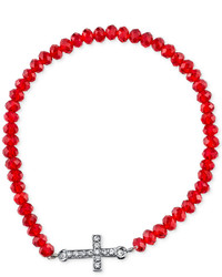Vatican Faceted Bead And Cross Stretch Bracelet