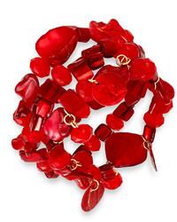 INC International Concepts Gold Tone Red Shell Three Row Stretch Bracelet