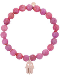 Sydney Evan Light Ruby Beaded Bracelet With Hamsa Hand Charm