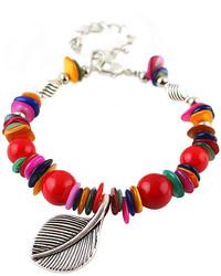 Red Bead Leaf Bracelet