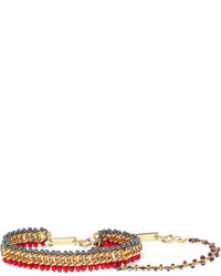 Set of two gold tone beaded bracelets red medium 1152595