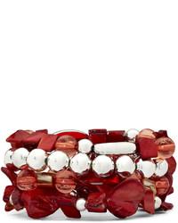 jcpenney Silver Tone Red Glass Shell 4 Pc Stretch Bracelet Set