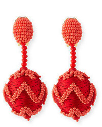 Oscar de la Renta Beaded Chevron Ball Drop Clip On Earrings