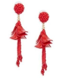 Beaded Petal Drop Earrings