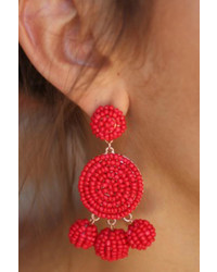 Gemma Collection Red Beaded Earrings