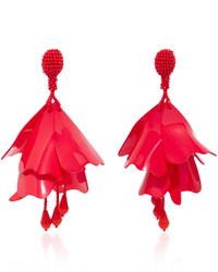 Oscar de la Renta Impatiens Resin Clip Earrings