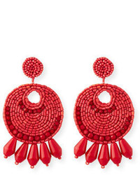 Kenneth Jay Lane Beaded Hoop Drop Earrings Red