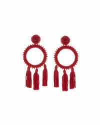 Oscar de la Renta Large Beaded Circle Tassel Clip On Earrings Dark Red