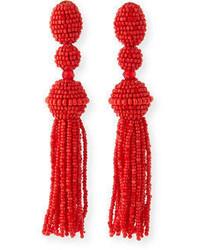Long beaded tassel clip on earrings medium 3750072