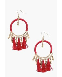 Boohoo Lucy Bead And Tassel Hoop Earring