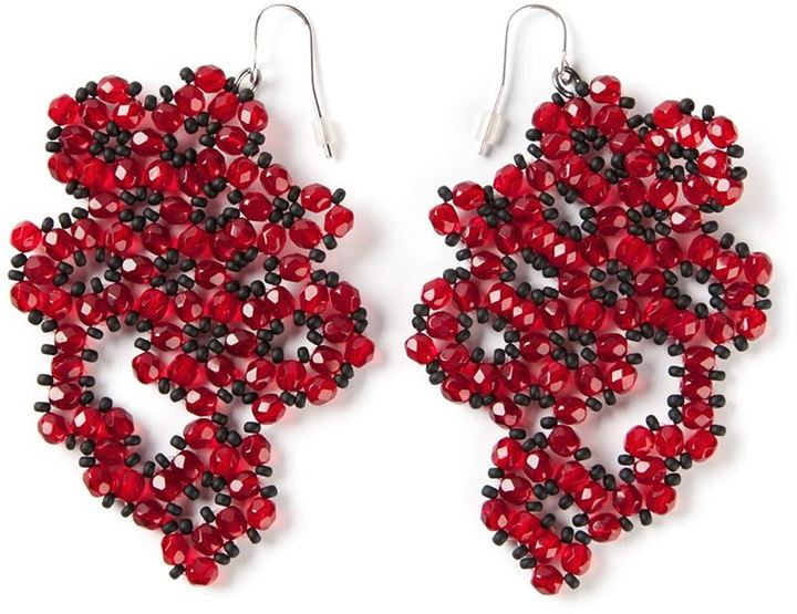 Red Beaded Earrings Maria Calderara