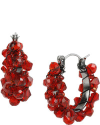 Mixit Mixit Red Faceted Bead Hoop Earrings