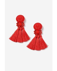 Red Bead And Tassel Drop Earrings