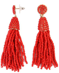 Riah Fashion Czech Beads Tassel Earrings