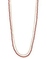 Astley Clarke Red Agate White Sapphire Long Beaded Hamsa Charm Necklace