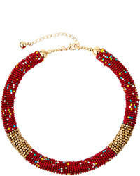 Fragments for Neiman Marcus Fragts Multicolored Seed Bead Choker Necklace Red