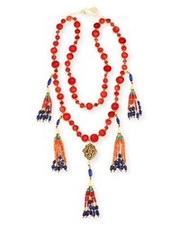 Devon Leigh Two Row Copper Infused Red Coin Tassel Necklace