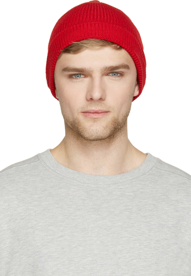 8af7cb60a6a ... Ami Alexandre Mattiussi Red Ribbed Knit French Beanie ...