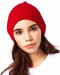 Asos Short Rib Knit Beanie Red