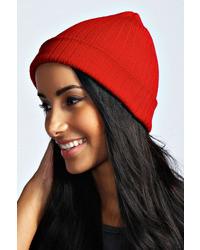 Boohoo Kaiya Boyfriend Ribbed Beanie Hat