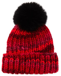 Eugenia Kim Hats Rain Beanie With Fox Fur Pom Pom Red