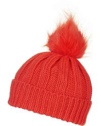Faux Fur Pom Beanie Hat