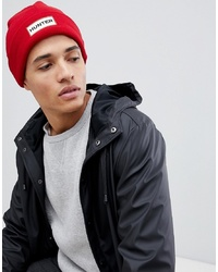 Hunter Fleece Beanie Hat In Red