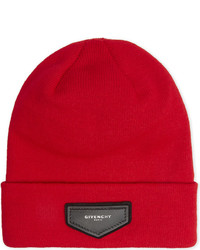 Givenchy Leather Logo Beanie