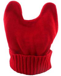 New Model Red Woolen Knitted Ears Shape Fancy Beanie Hat