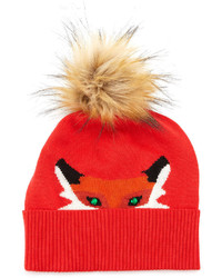 Kate Spade New York Fox Beanie Hat With Rhinestone Detail