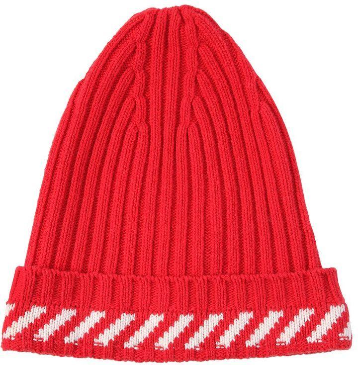 ... Off-White Diagonals Wool Blend Knit Beanie ... 2666d2af9fa